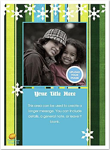 Screenshot of a Christmas ecard with a yellow, green, and blue design