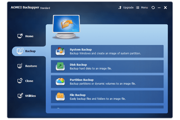 Screenshot of AOMEI Backupper v3.0 in Windows 7