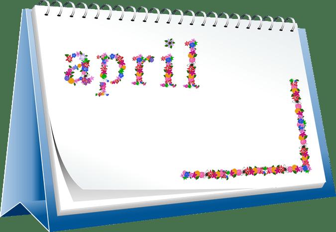 Clip Art of a April Desk Calendar