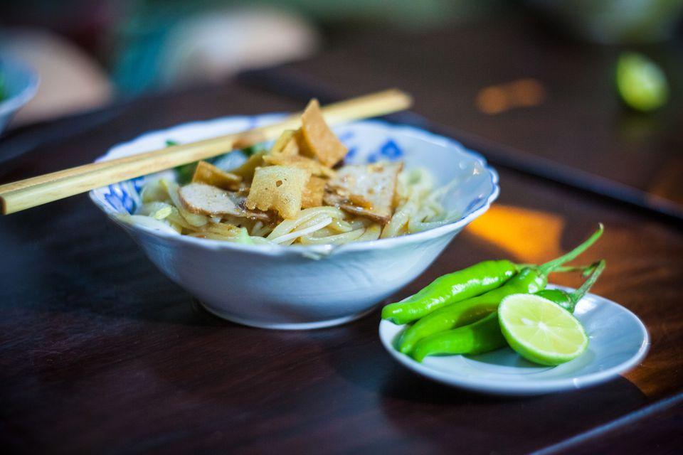 A bowl of Cao Lau noodles from Hoi An, Vietnam.