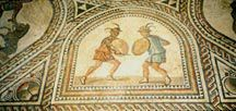 Mosaic of gladiators fighting at Bad Kreuznach.