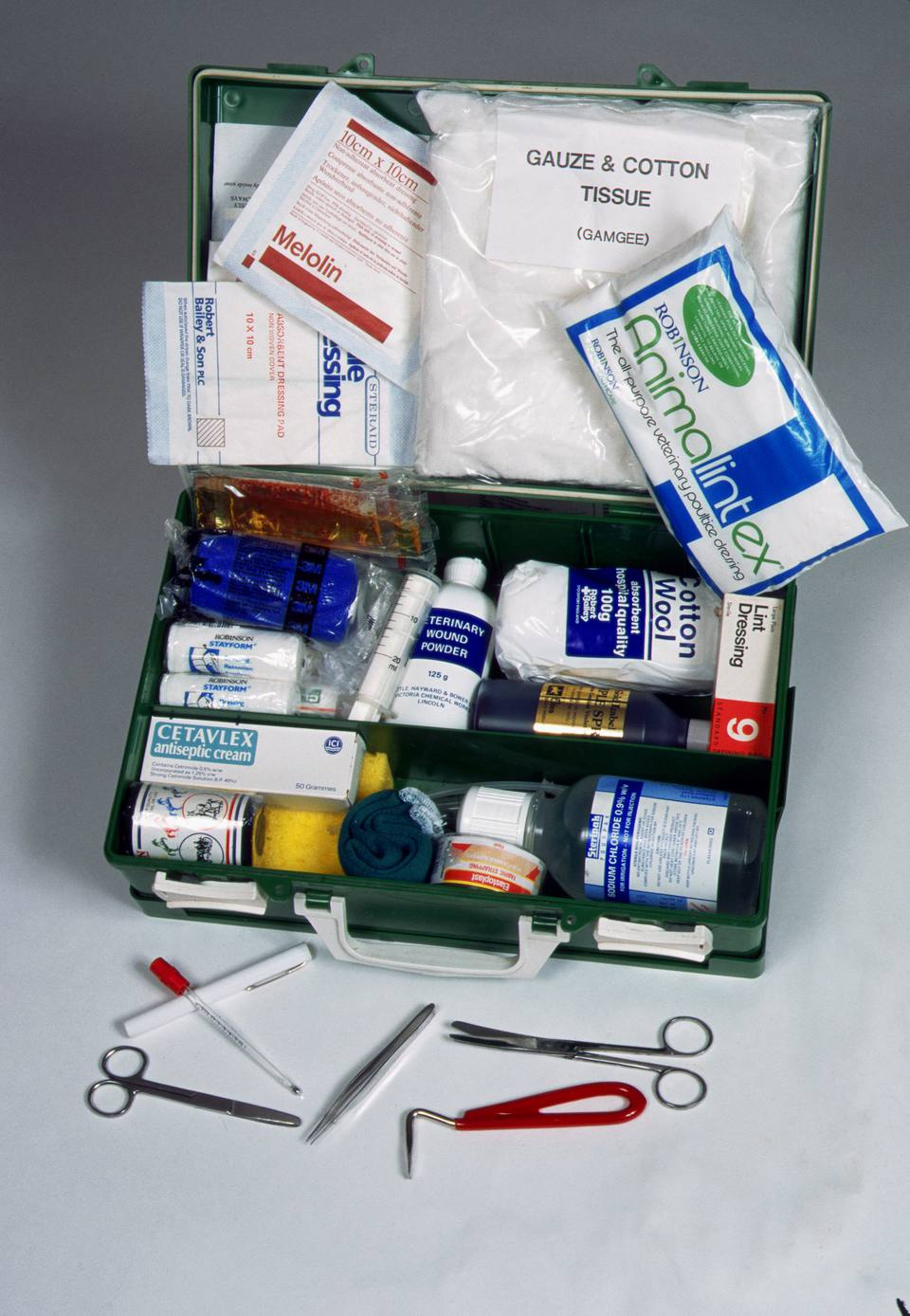 Equine First Aid Kit An equine first aid kit opens to reveal is contents.