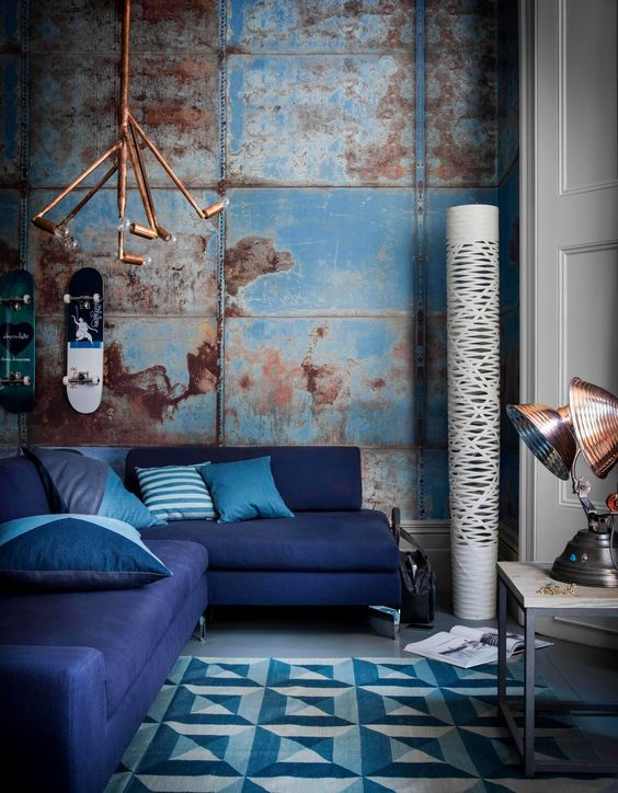 copper and blue living room