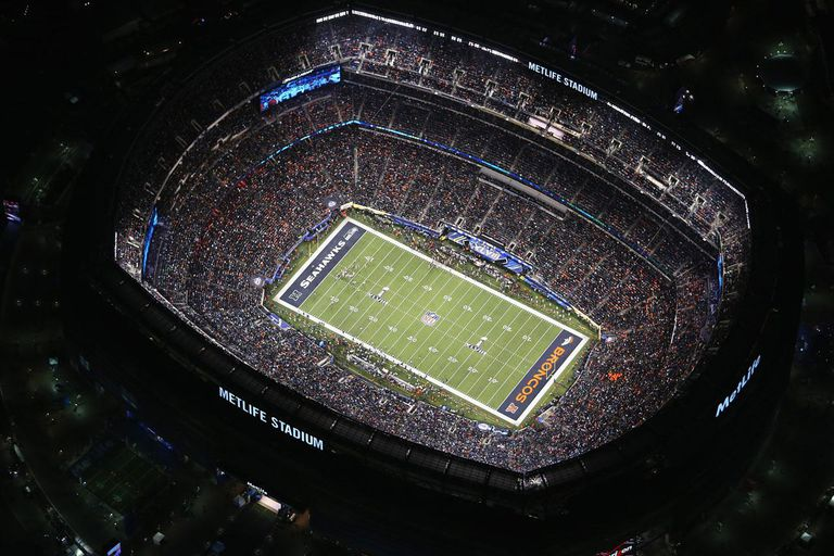 EAST RUTHERFORD, NJ - FEBRUARY 02: The Seattle Seahawks and the Denver Broncos play in the second half of Super Bowl XLVIII on February 2, 2014 in East Rutherford, New Jersey. The Seahawks won 43-8. The view is seen from a Customs and Border Protection helicopter operated by the U.S. Office of Air and Marine, which provided air support for law enforcement on the ground around the stadium.