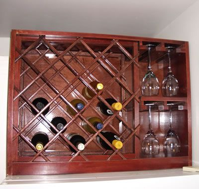 Wine Rack with Built-in Wine Glass Storage