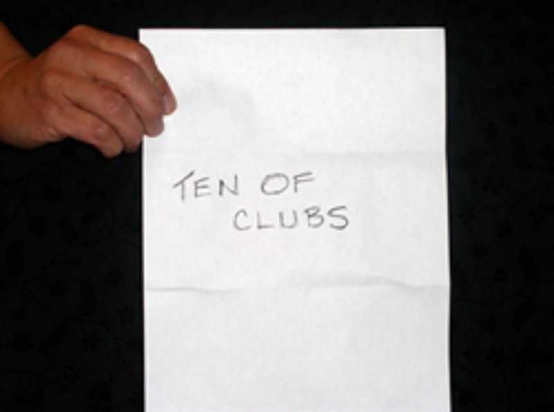 the impossible prediction magic trick ten of clubs written on paper