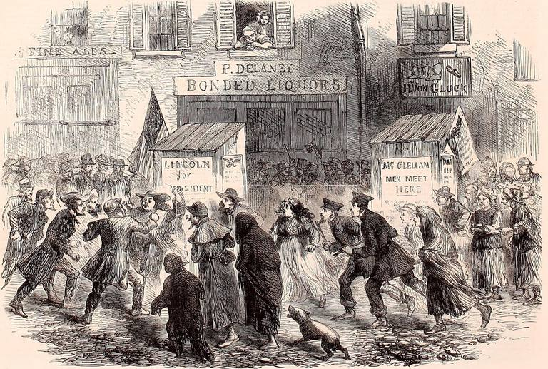 Illustration of Election Day 1864 from the London Illustrated News
