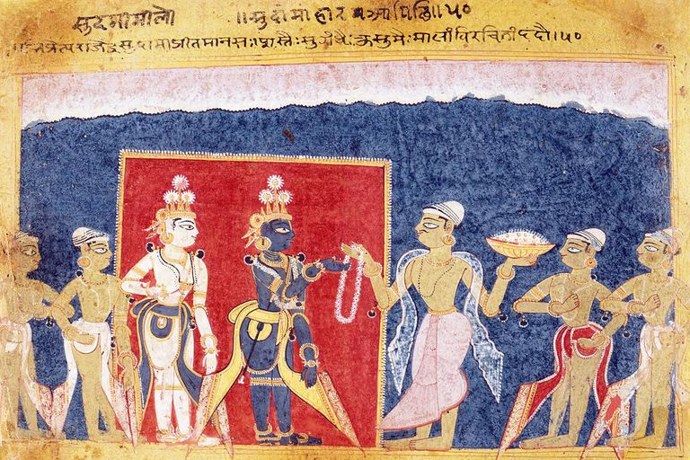 Sudama Offers a Garland to Krishna, Folio from a Bhagavata Purana (Ancient Stories of the Lord)