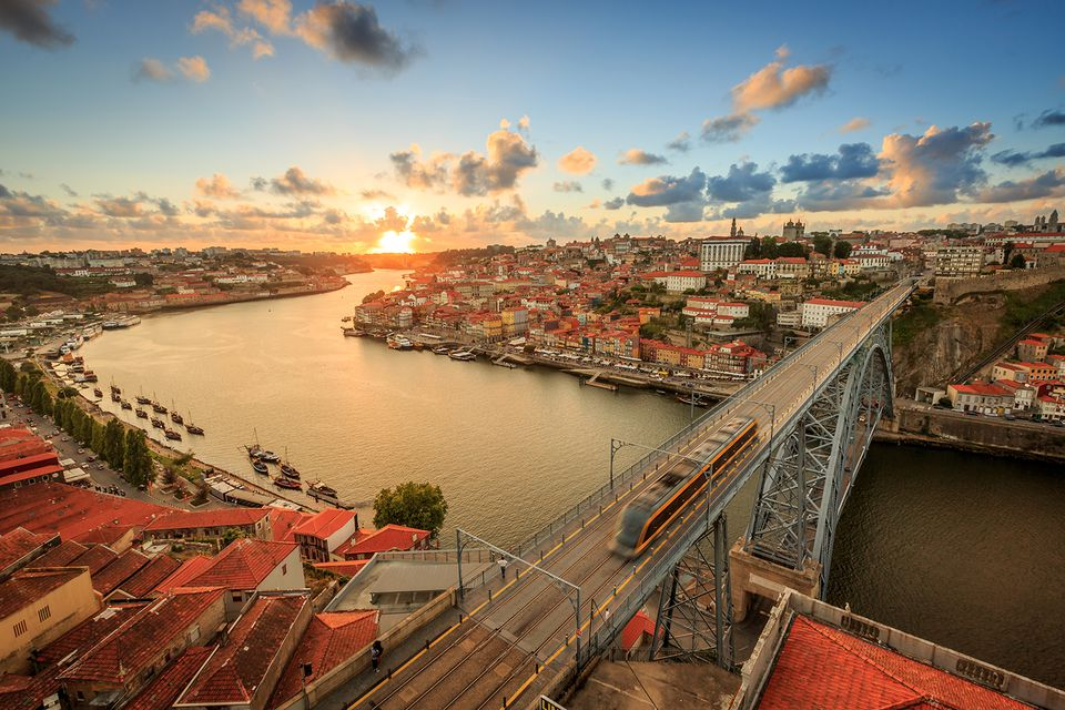 A sunset photo over the beautiful city of Porto, Portugal.