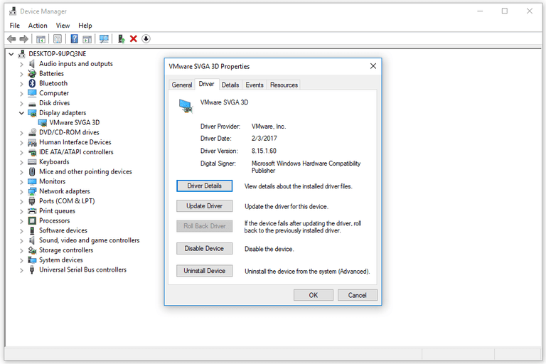 Screenshot of driver information in Windows 10 Device Manager