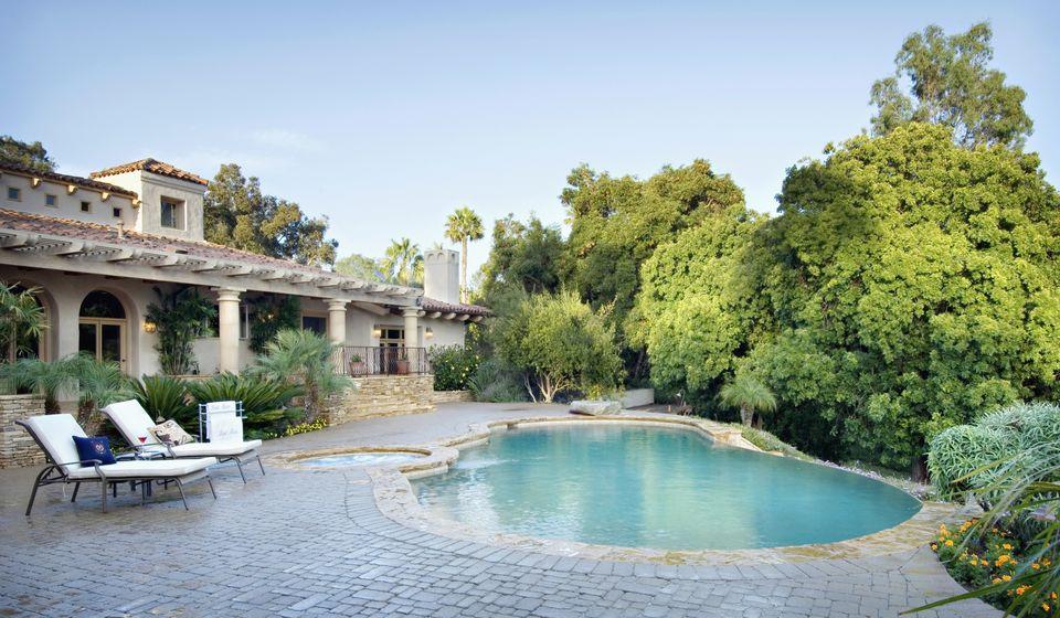 Swimming pool in yard
