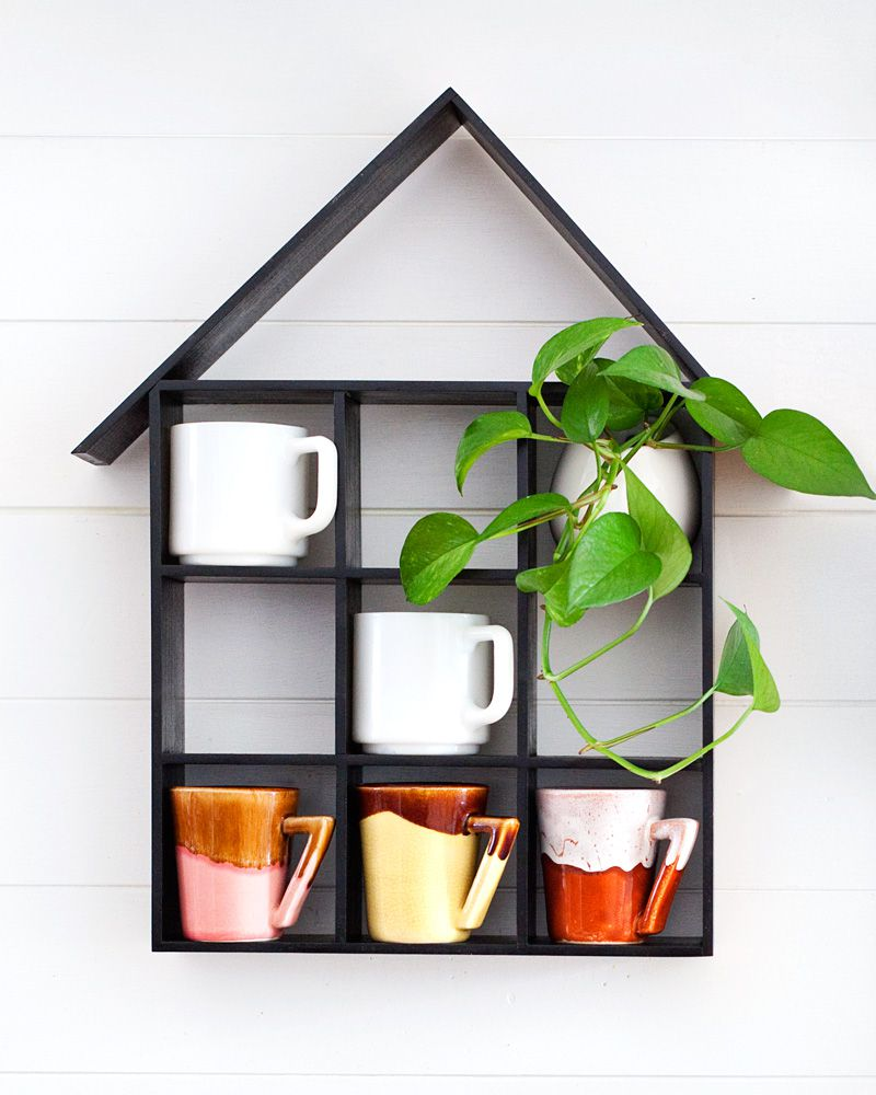 DIY House Shaped Mug Shelf