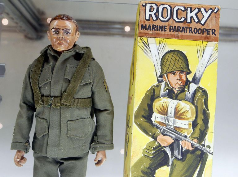 The prototype for the G.I. Joe action figure, 'Rocky the Paratrooper,' is on display at the 2003 Hasbro International G.I. Joe Collectors' Convention June 27, 2003 in Burlingame, California. The prototype is expected to fetch $600,000 when it goes up for auction this month. Hundreds of G.I. Joe fans from around the country are attending the convention to buy, sell and trade G.I. Joe and military action figures.