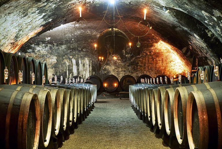 Wine cellar, castle Johannisburg, Rhine district, Hesse, Germany