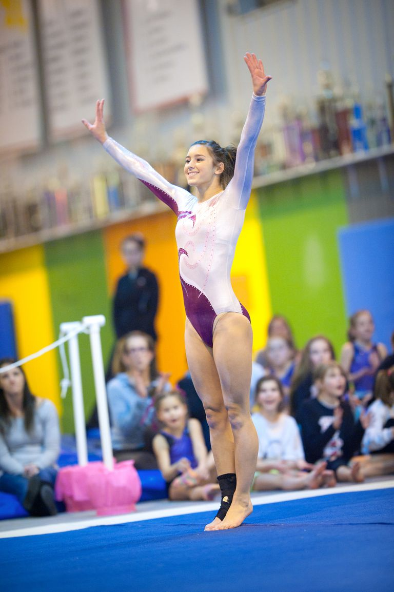 Young gymnast competing