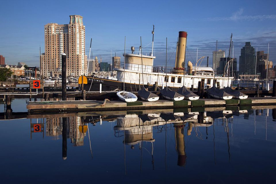 Old tugboat and marina, Baltimore Museum of Industry, Baltimore, Maryland, USA