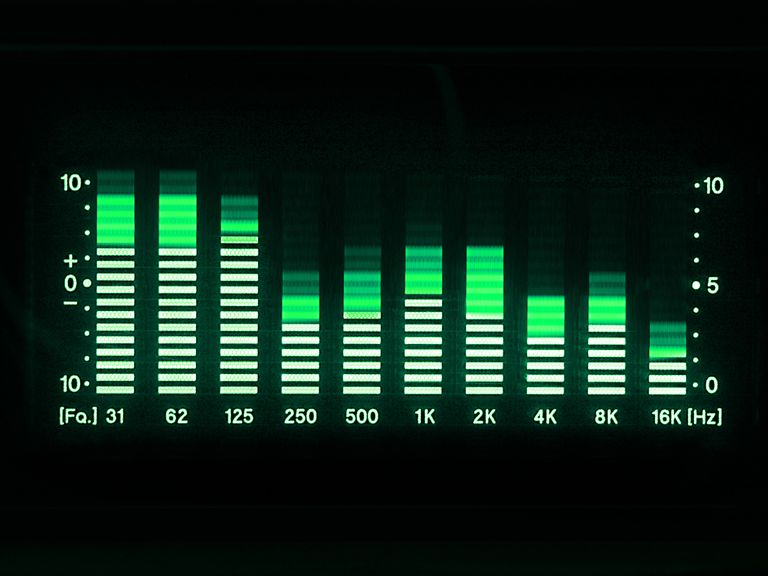 A graphic stereo equalizer represented in green