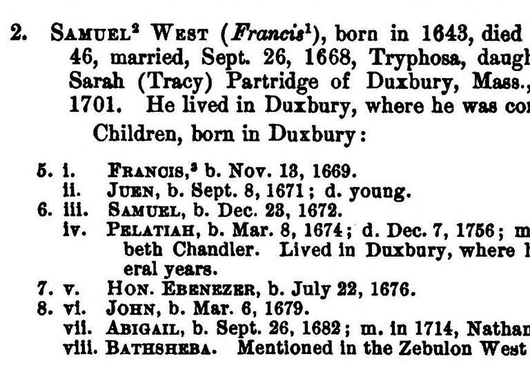 Example of a descendant genealogy report using the register system from the New England Historic and Genealogical Register, Vol LX, 1906, pp 142–143