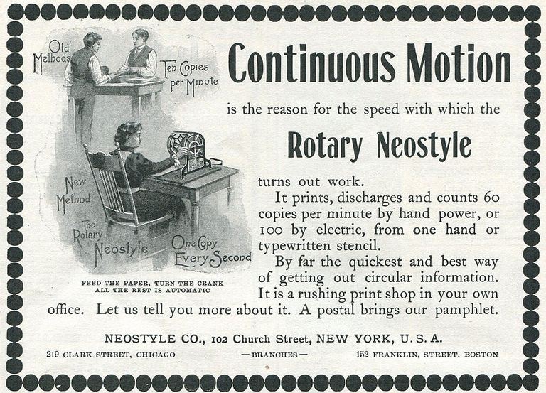 Ad For 'Neostyle Duplicating Device'