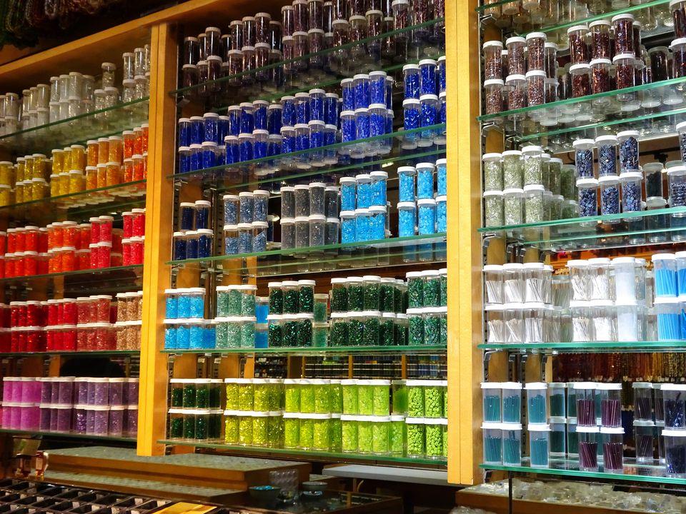 Multicoloured beads on display