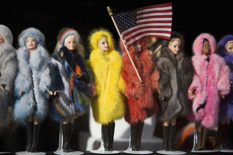 Close-up of fashion dolls with an American Flag,New York City,New York State,USA