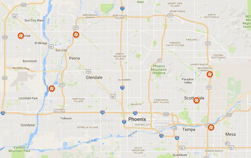 Map of Arizona Fall League Stadiums in Arizona