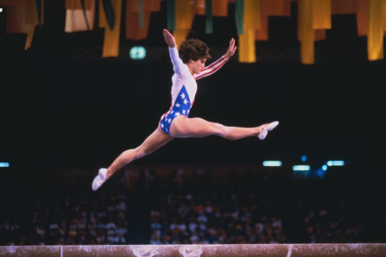 Mary Lou Retton Performing on Balance Beam