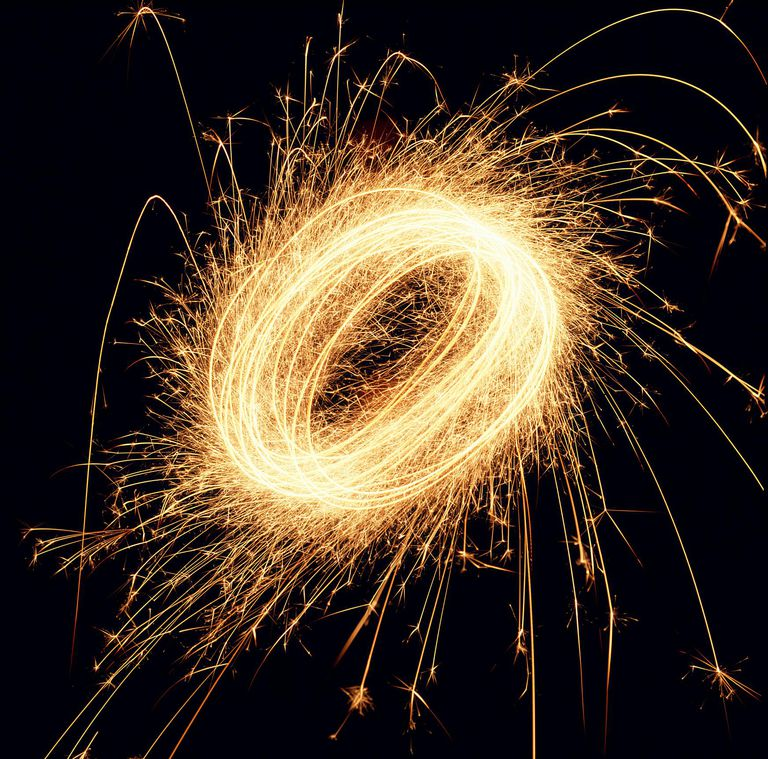 fireworks in the shape of the letter O