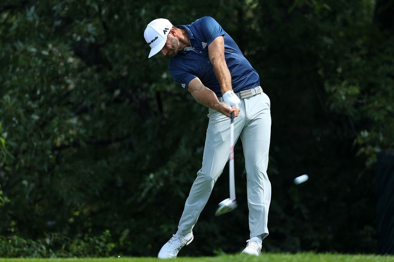 Dustin Johnson tees off during the 2016 BMW Championship tournament