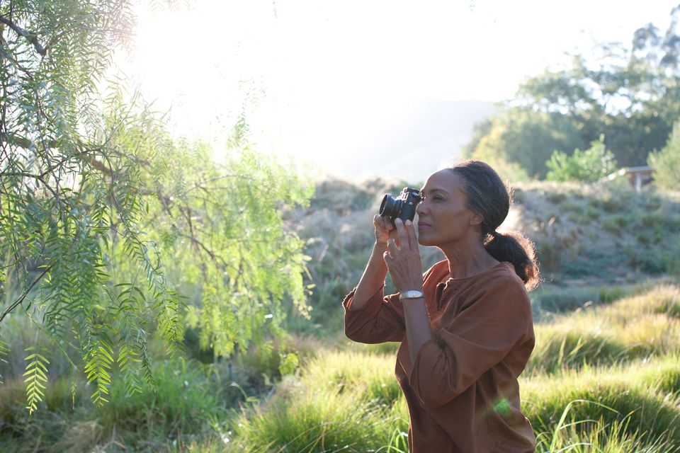 Woman photographing nature