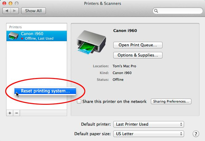 How to Reset Your Mac's Printing System
