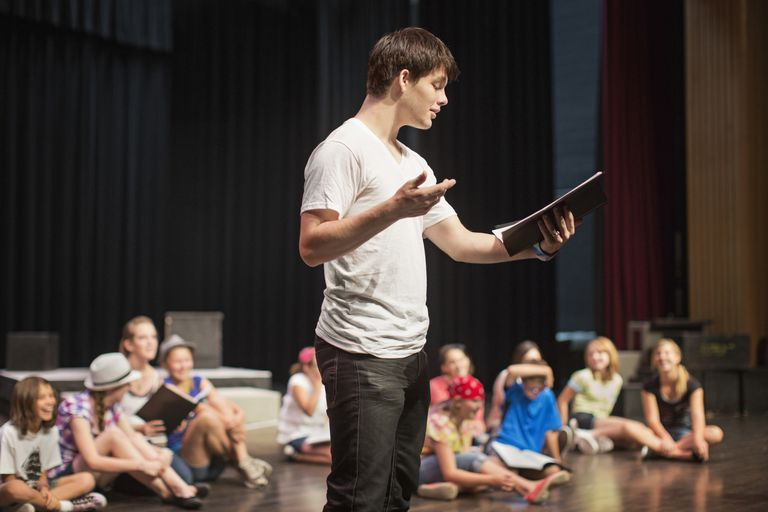 Actor rehearsing on stage