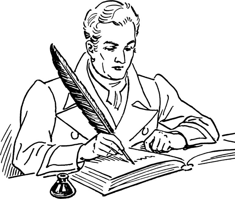 man writing with quill