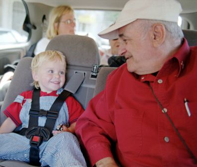 Grandparents and grandchildren can enjoy traveling by car together.