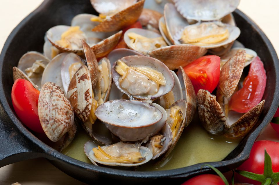 Clams In Cooking Pan On Table