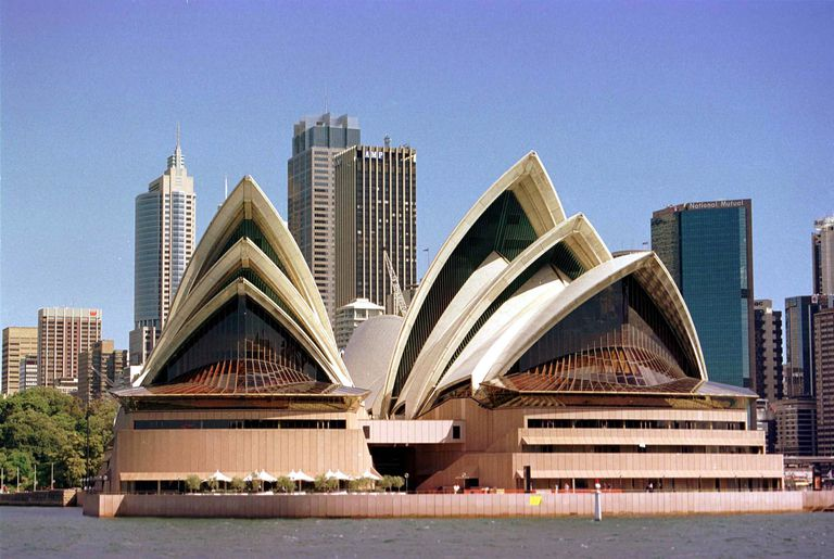 September, 1998 the front of the Sydney Opera House like two groups of 3 triangular white shells, one on top of another