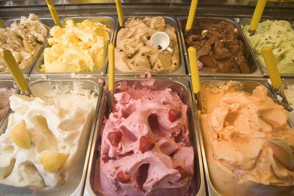gelato display of many flavors
