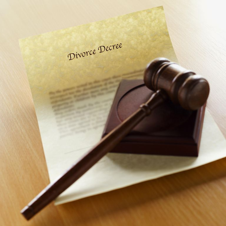 Close-up of divorce decree document and gavel