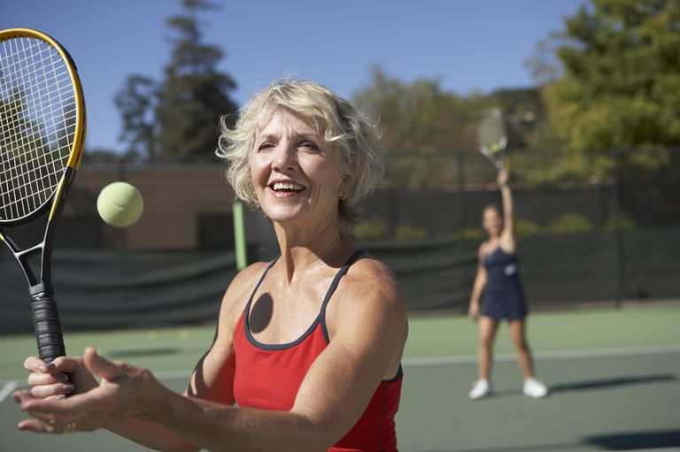 Caucasian woman on tennis court
