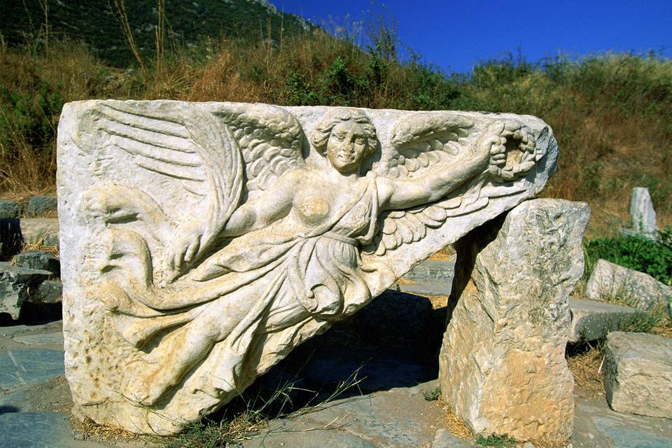 Stone Carving of the Greek Goddess Nike, Ephesus, Turkey