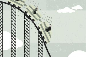 business people on roller coaster losing money