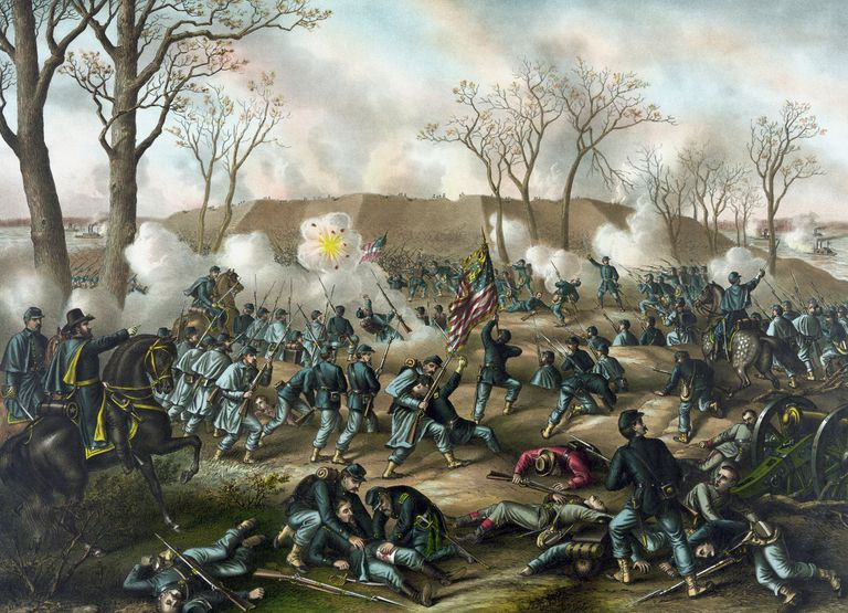 Civil War Print of The Battle of Fort Donelson.