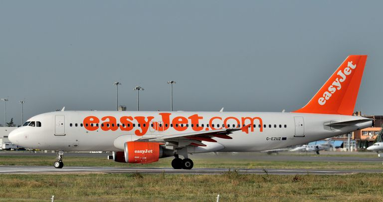 "A commercial airplane decorated with the domain name ""easyjet.com"""