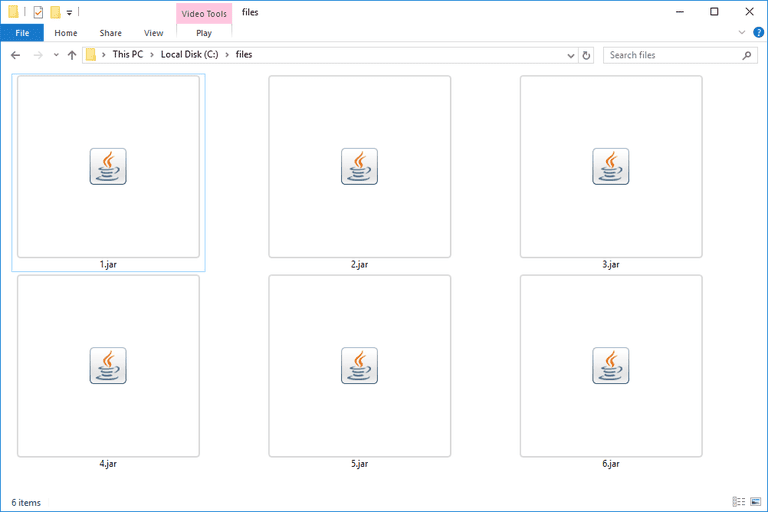 Screenshot of several JAR files in Windows 10