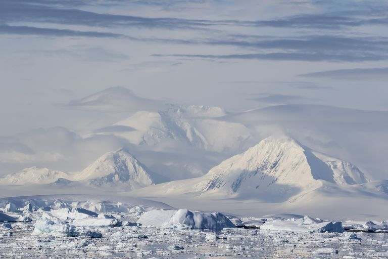 Snow covered mountains on the Antarctic Peninsula.