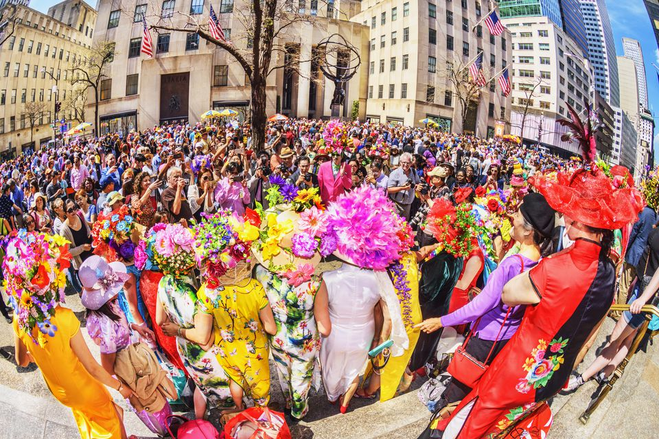 Large Group Of People At The Easter Parade On Fifth Avenue