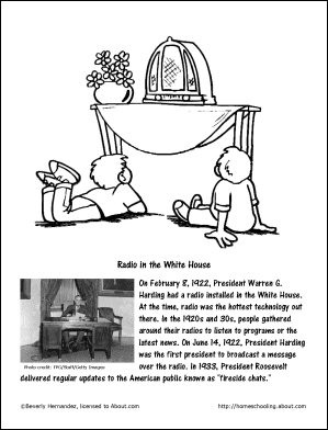 Radio In The White House Coloring Page