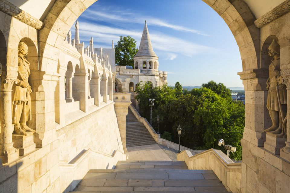 Hungary, Central Hungary, Budapest, Blue sky over Fishermans Bastion