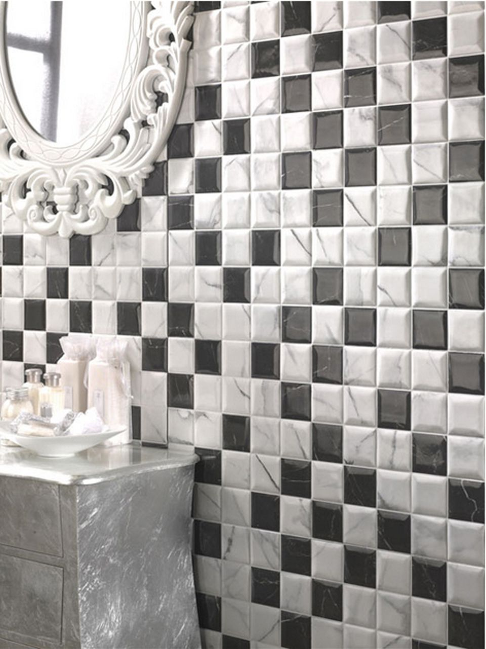 Black and white tile is a huge bath trend amazing high tech printed tiles dailygadgetfo Gallery