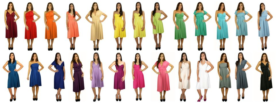 Convertible Bridesmaids Dresses come in a rainbow of hues to match your wedding day.